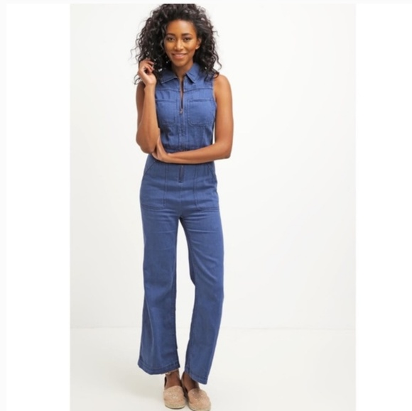 Free People Denim - Free People Wind More Retro Denim Jumpsuit